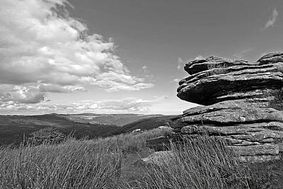 Bellever Tor Dartmoor In Black And White Poster