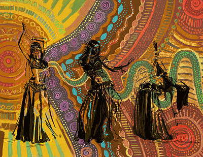 Belly Dancer Motifs And Patterns Poster by Corporate Art Task Force