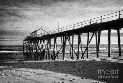 Poster featuring the photograph Belmar Fishing Pier In Black And White by Debra Fedchin
