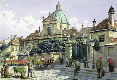 Below The Belvedere Palace In Vienna Wc On Paper Poster by Richard Pokorny