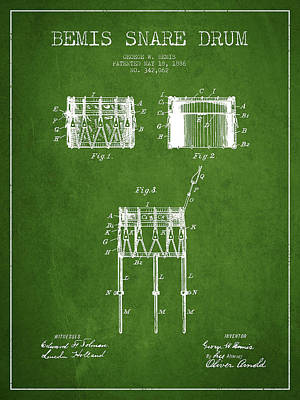 Bemis Snare Drum Patent Drawing From 1886 - Green Poster by Aged Pixel