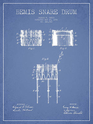 Bemis Snare Drum Patent Drawing From 1886 - Light Blue Poster by Aged Pixel