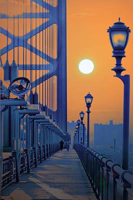 Ben Franklin Bridge Walkway Poster by Bill Cannon