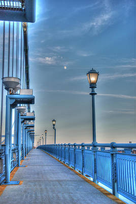 Ben Franklin Bridge Walkway Poster by Jennifer Ancker