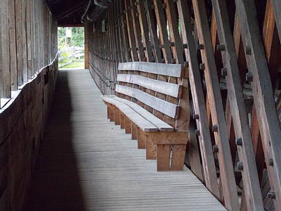Bench Inside A Covered Bridge Poster by Catherine Gagne