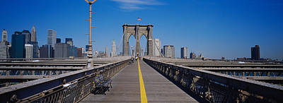 Bench On A Bridge, Brooklyn Bridge Poster by Panoramic Images