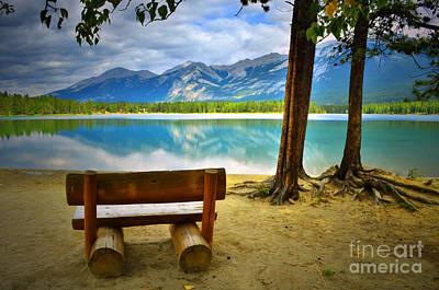 Bench View At Lake Edith Poster