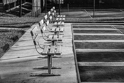 Benches At The Ready Poster by Lewis Mann