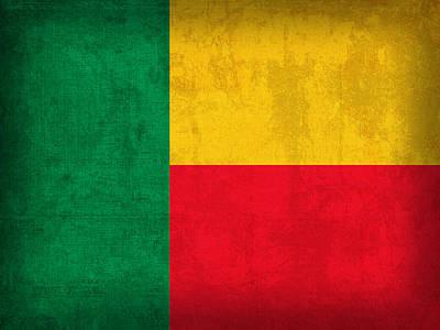 Benin Flag Vintage Distressed Finish Poster by Design Turnpike
