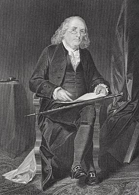 Benjamin Franklin 1706-1790. American Poster by Ken Welsh