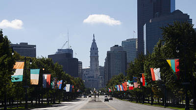 Benjamin Franklin Parkway Flags Of The World Poster by Bill Cannon