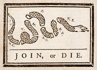 Benjamin Franklin's Join Or Die Cartoon Poster by Benjamin Franklin