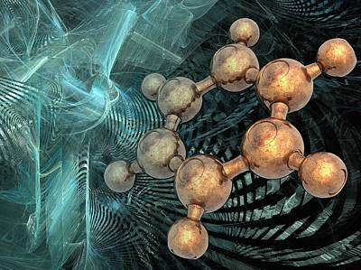 Benzene Molecule, Artwork Poster by Science Photo Library