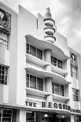 Berkeley Shores Hotel - South Beach - Miami - Florida - Black And White Poster by Ian Monk