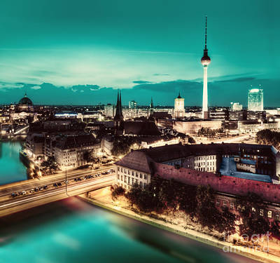 Berlin Germany Major Landmarks At Night Poster by Michal Bednarek