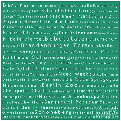 Berlin In Words Algae Poster by Sabine Jacobs