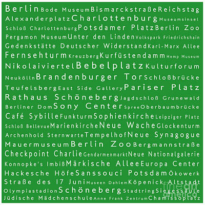 Berlin In Words Green Poster by Sabine Jacobs