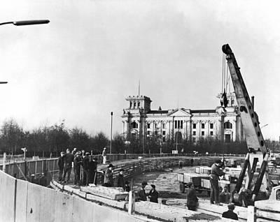 Berlin Wall Construction Poster