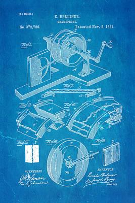 Berliner Gramophone Patent Art 1887 Blueprint Poster by Ian Monk