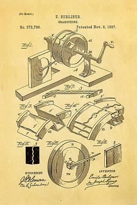 Berliner Gramophone Patent Art 1887 Poster by Ian Monk
