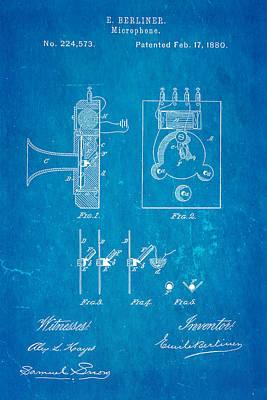 Berliner Microphone Patent Art 1880 Blueprint Poster by Ian Monk
