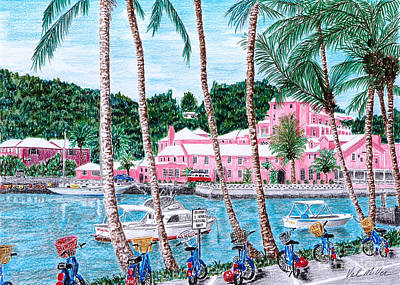 Poster featuring the painting Bermuda Pink Hotel by Val Miller