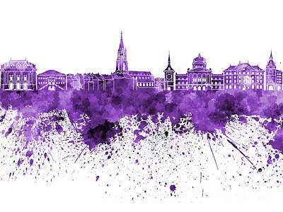 Bern Skyline In Purple Watercolor On White Background Poster