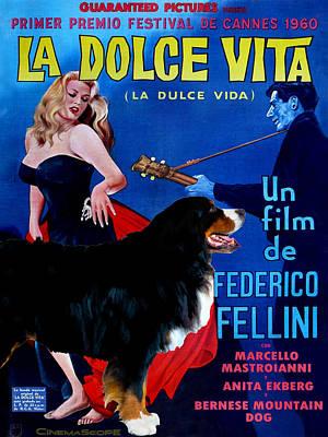 Bernese Mountain Dog Art Canvas Print - La Dolce Vita Movie Poster Poster