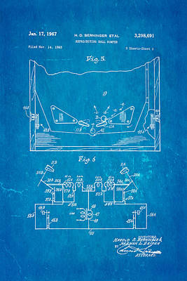 Berninger Reprojecting Ball Bumper 2 Patent Art 1967 Blueprint Poster by Ian Monk