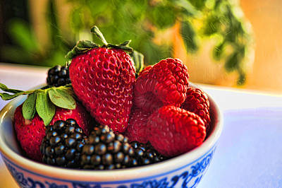 Berries In A Bowl Poster by Don Bendickson