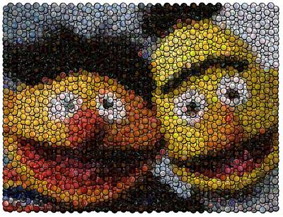 Bert And Ernie Bottle Cap Mosaic Poster