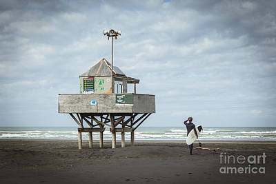 Bethells Beach New Zealand Lifeguard Tower And Surfer  Poster by Colin and Linda McKie