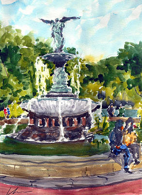 Bethesda Fountain At Central Park Poster by Chris Coyne