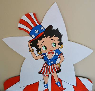 Betty Boop Celibrating The 4th O July Poster