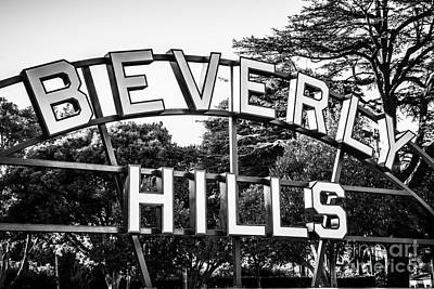 Beverly Hills Sign In Black And White Poster by Paul Velgos