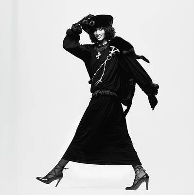 Beverly Johnson Wearing A Dress And Cossack Hat Poster by Albert Watson
