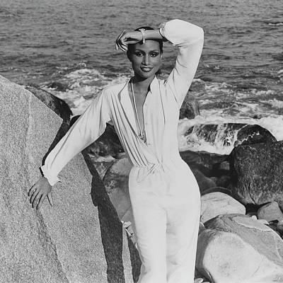 Beverly Johnson Wearing A Jumpsuit Poster by Francesco Scavullo