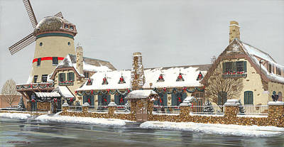 Bevo Mill Side View Christmas  Poster by Don  Langeneckert