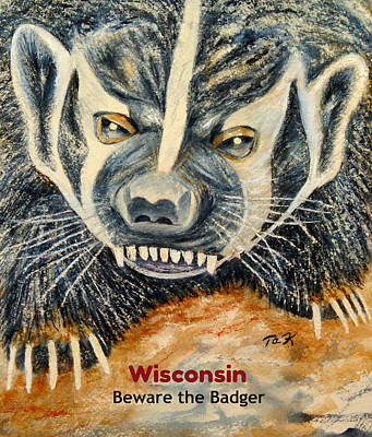 Poster featuring the painting Beware The Badger by Thomas Kuchenbecker