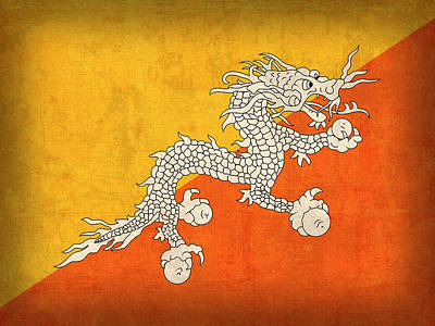 Bhutan Flag Vintage Distressed Finish Poster by Design Turnpike