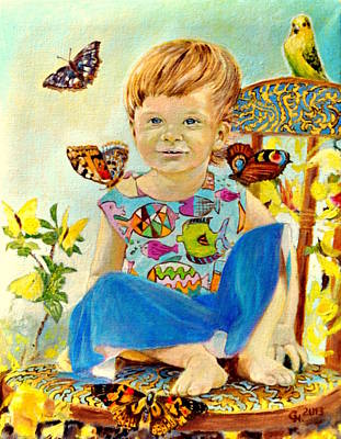 Bianka And Butterflies Poster by Henryk Gorecki