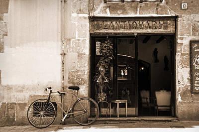 Bicycle And Reflections At L'antiquari Bar  Poster