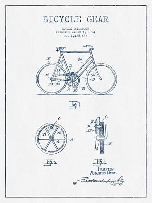 Bicycle Gear Patent Drawing From 1924 - Blue Ink Poster by Aged Pixel