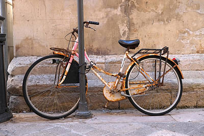 Poster featuring the photograph Bicycle Lecce Italy by John Jacquemain