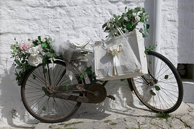 Bicycle Parked Against A Wall, Trulli Poster by Panoramic Images