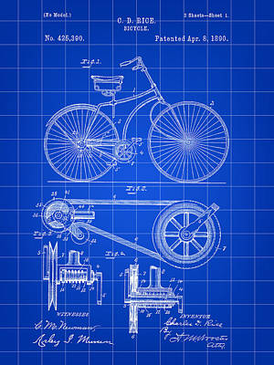 Bicycle Patent 1890 - Blue Poster by Stephen Younts