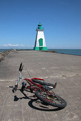 Poster featuring the photograph Bicycle Port Dalhousie Ontario by John Jacquemain