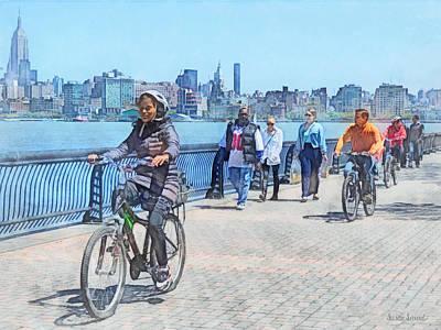 Hoboken Nj - Bicycling Along Pier A Poster by Susan Savad