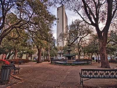 Bienville Spring With Benches Poster by Michael Thomas