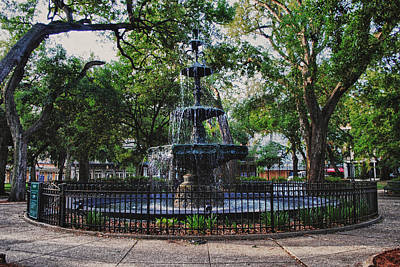 Bienville Square Fountain Closeup Poster by Michael Thomas